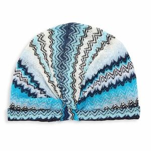 Missoni blue zig zag stripe turban